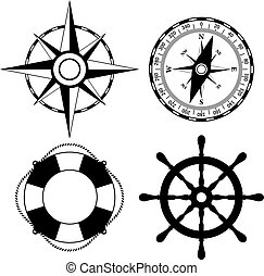 vektor, tengeri, ikonok
