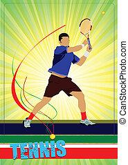 vektor, tenisz, player., színezett, ember