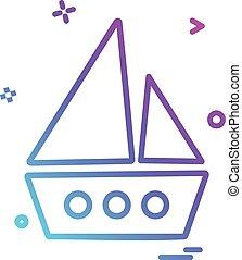 vektor, tervezés, csónakázik, ikon