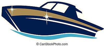 vektor, tervezés, csónakázik