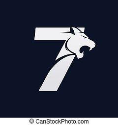 vektor, tervezés, jel, hét, ragadozó, szám, tiger, számjegy