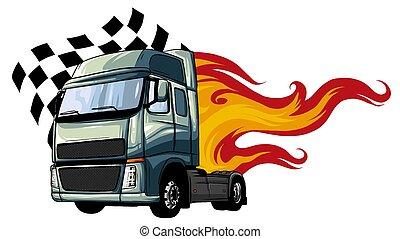 vektor, tervezés, semi, ábra, karikatúra, truck.