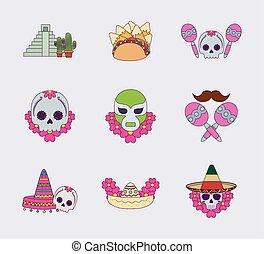 vektor, tervezés, színes, ikon, elszigetelt, állhatatos, mexikói