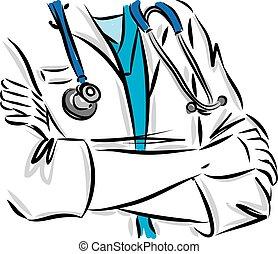 vektor, testtartás, orvosi, sztetoszkóp, fogalom, ábra, orvos
