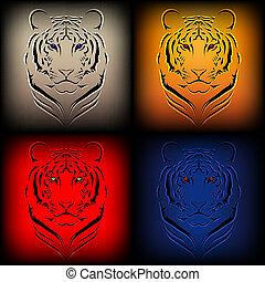 vektor, tigris, állhatatos, különféle, hágó