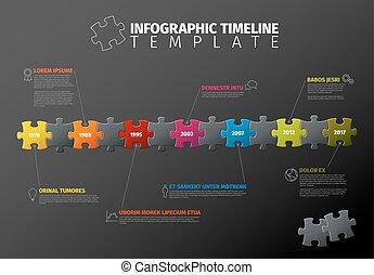 vektor, timeline, rejtvény, infographic, sablon