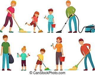 vektor, tisztító, gyerekek, család, emelet, jó, ábra, lemos, állhatatos, szülők, épület, kitakarít, űr, karikatúra, housework.