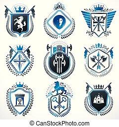 vektor, uralkodik, alapismeretek, középkori, kidomborít, collection., szüret, címertani, grafikus, királyi, fegyver, adományoz, fegyvergyár, más, tervezés, tervezett, csillaggal díszít, bőr, style.