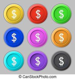 vektor, usd usd, állhatatos, színezett, pénz, dollárok, jelkép., aláír, pénznem, buttons., label., icon.