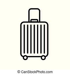 vektor, utazás, bőrönd, ábra, icon-