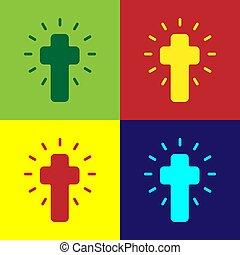 vektor, váratlanul, keresztény, kereszt, rajzóra befest, templom, elszigetelt, ikon, cross., háttér.