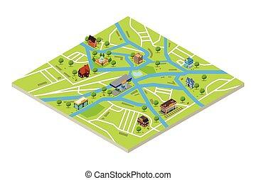 vektor, város, ábra, mód, térkép, isometric, gps