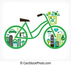 vektor, város, -, bicikli, zöld