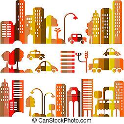 vektor, város, este, csinos, utca, ábra