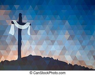 vektor, vízfestmény, színhely, húsvét, cross., illustr, christ., jézus