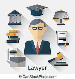 vektor, vagy, ügyvéd, ügyvéd, háttér, jogtudós, fogalom