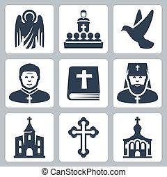 vektor, vallás, állhatatos, keresztény, ikonok