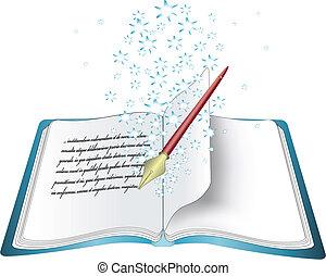 vektor, varázslatos, könyv