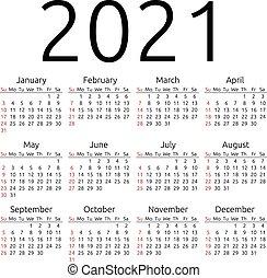 vektor, vasárnap, 2021, naptár