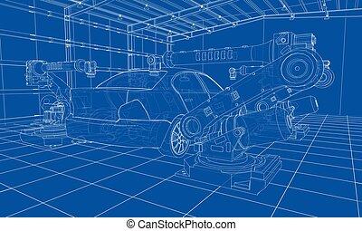 vektor, vehicle., motor, gyűlés