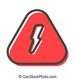 vektor, villámlás, aláír, veszély, háromszögű, elektromos