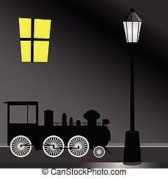 vektor, villamos, fény, ábra, szín, utca