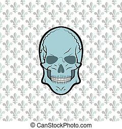 vektor, virág, liliom, koponya, háttér