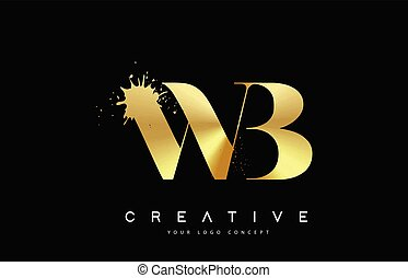 vektor, wb, arany, olvadt, fém, loccsanás, nyugat, levél, jel, b betű, design.