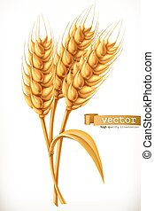 vektor, wheat., fül, ikon, 3