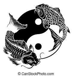 vektor, yang, jelkép, ying, fishes., koi, ábra