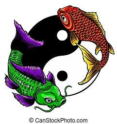 vektor, ying, jelkép, koi, ábra, yang, fishes.