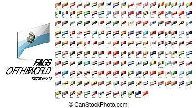 vektor, zászlók, nemzeti, white háttér, countries., ábra