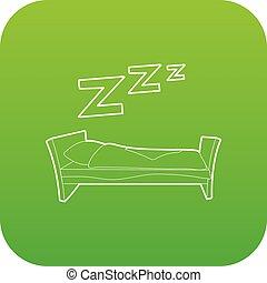 vektor, zöld, ágy, ikon