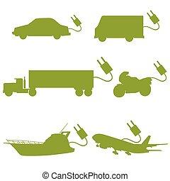 vektor, zöld, szállít, jármű