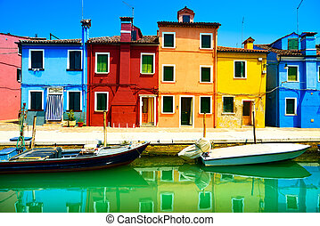 velence, burano, csatorna, színes, sziget, fotográfia, italy., hosszú, épület, határkő, csónakázik, kitevés