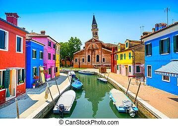 velence, burano, olaszország, csatorna, színes, sziget, épület, határkő, templom, csónakázik