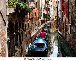 velencei, olaszország, canal.