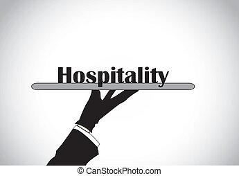 vendégszeretet, felszolgálás, kéz, szöveg