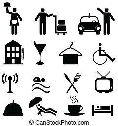 vendégszeretet, hotel, állhatatos, ikon
