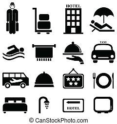 vendégszeretet, hotel, ikonok