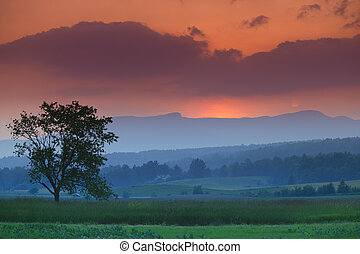 vermont, felett, stowe, hegy., mansfield, napnyugta