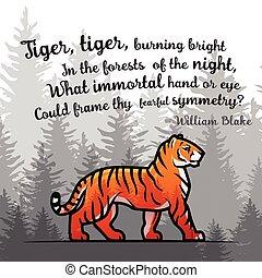 vers, blake, öreg, poszter, tiger, ábra, bengália, vilmos, háttér., vektor, erdő, megkettőz, ködös, design., template., kitevés