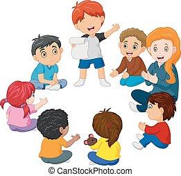 vers, karika, gyerekek, felolvasás, ülés