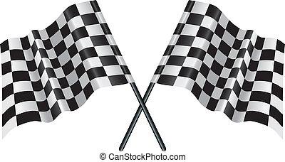 versenyzés, chequered lobogó, tarka, motor