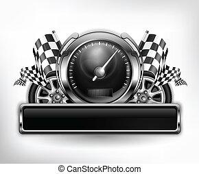 versenyzés, fehér, embléma, sebességmérő