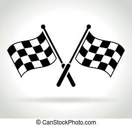 versenyzés, fehér, zászlók, háttér, ikon