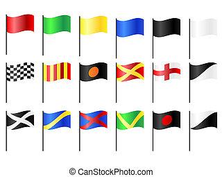 versenyzés, zászlók, motor