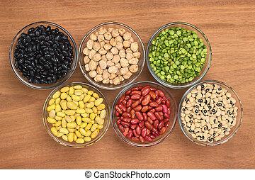 vese, peas), black-eyed, hüvelyesek, bab, erdő, felül, hasít, fénykép, borsó, változatosság, bab, csicseri borsó, (black, pohár, kanári, tál