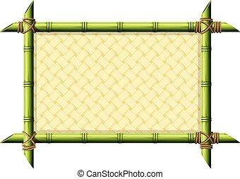 vesszőfonás, bambusz, keret, motívum
