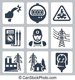 veszély, bedugaszol, erő, ikonok, beszerzés, drót, iparág, méter, villanyszerelő, aláír, bared, vektor, multimeter, beszerzés, egyenes, gyülekezőhely, set:, berendezés